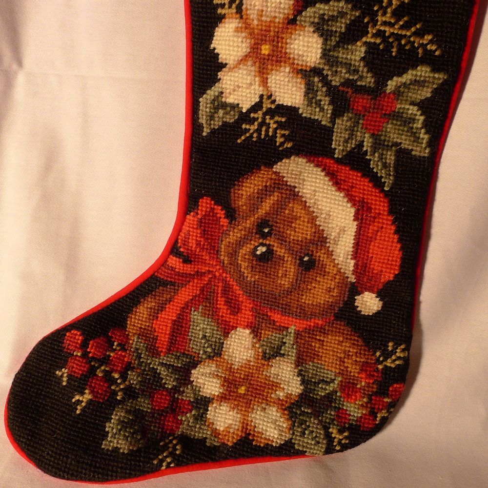 Wool Needlepoint Christmas Stocking Teddy Bear In Santa