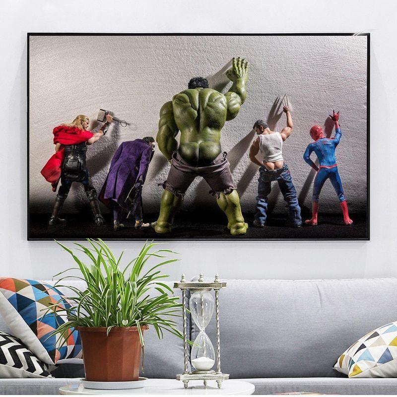 Black White Superhero Avengers Mask Poster Prints Canvas Art Home Decor Painting