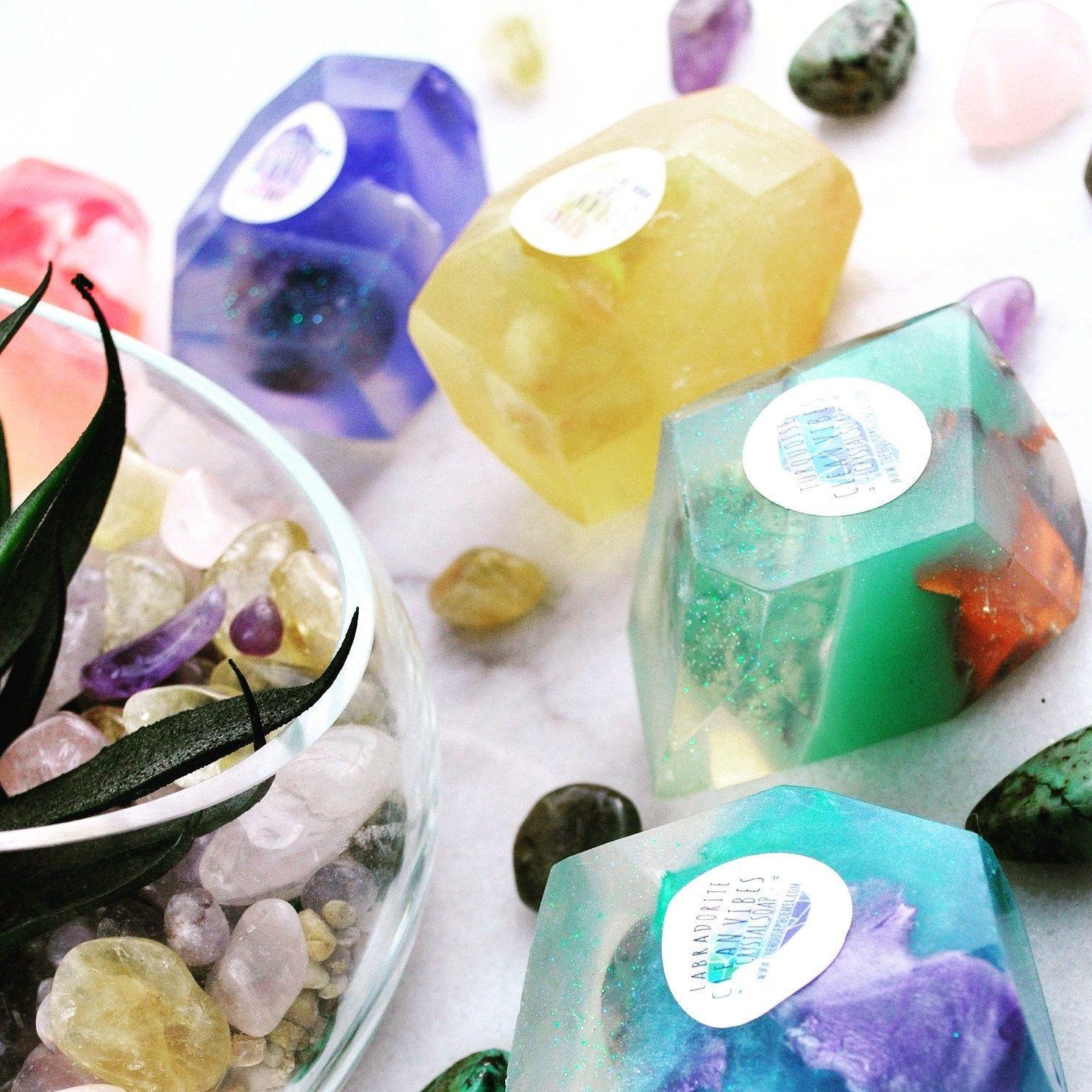 Choose Any 5 Crystal Soaps A Real Crystal in Each Vegan Handmade Bar