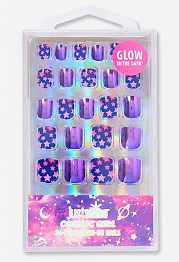 Justice Just Shine COSMIC Girl 24-Piece Press On Nails GLOW in the ...