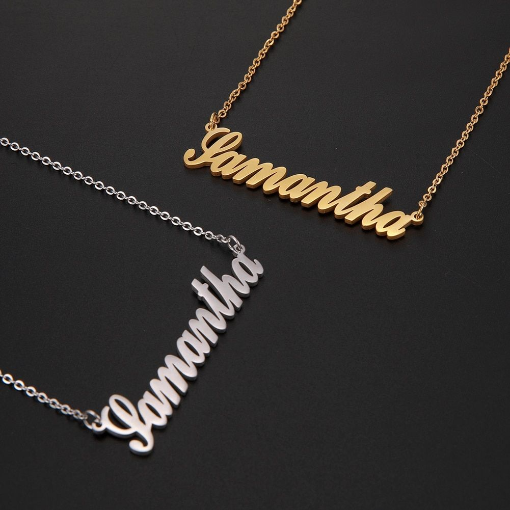 AILIN Jewelry Personalized Necklace 925 Sterling Silver with Any Name Pendant Chocker Gift for Women