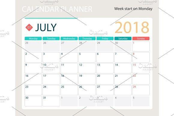 JULY 2018, illustration vector calendar or desk planner, weeks start