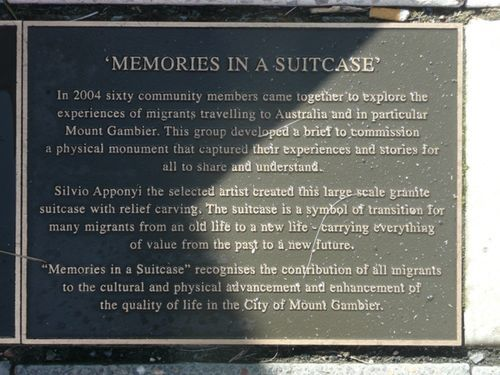 `Memories in a Suitcase` recognises the contribution of all migrants to the cultural and physical advancement and enhancement of the quality of life in the City of Mount Gambier.