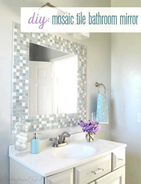 mosaic mirror   this might be what the bathroom needs in the Short One s  room  Creating a  spa  look  the walls are done in Bright White with MSL  mercury. 10 DIY Ways to Amp Up Builder Grade Basics   Tile mirror  Tile