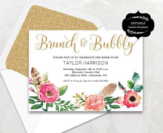 Floral Bridal Shower Template Printable Bridal Shower Invitation - Bridal shower card template