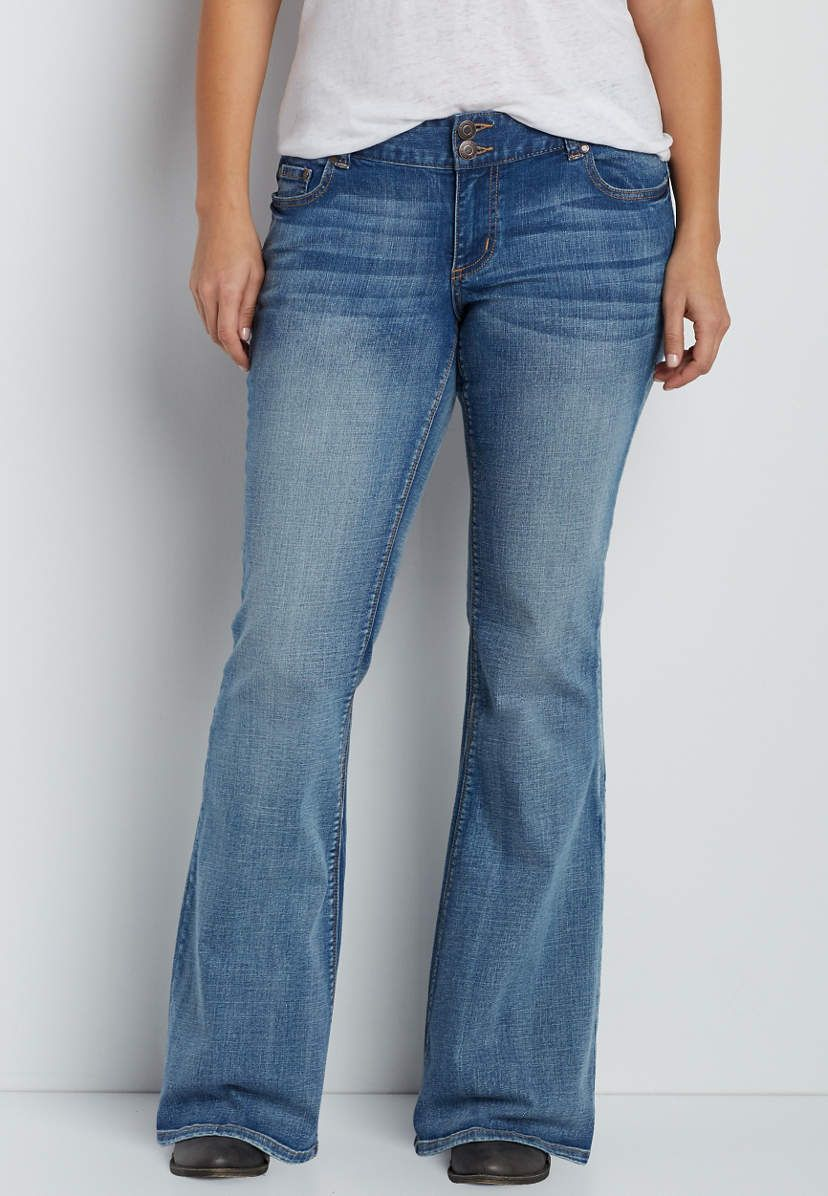bfea4d42a9c7 plus size Kaylee flare jeans in medium wash in 2019