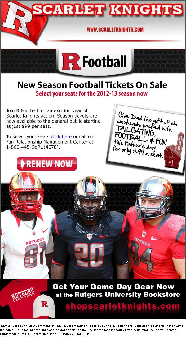 Rutgers University Promoting Father S Day Gift Season Ticket Football Ticket Fathers Day Gifts