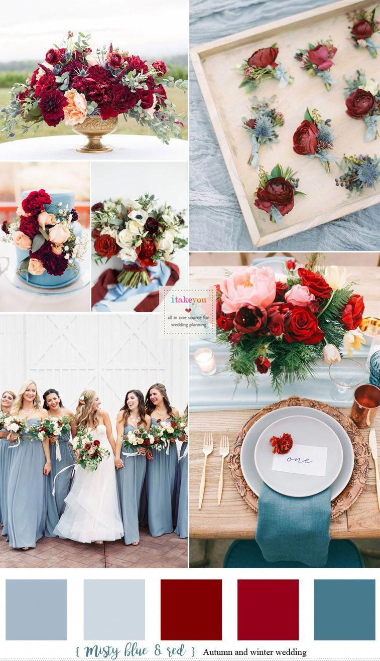Misty blue and Red Hues  Auburn + Burgundy + Carmine  Autumn & Winter Wedding #color #autumn #mistyblue #auburn #autumnweddingdress