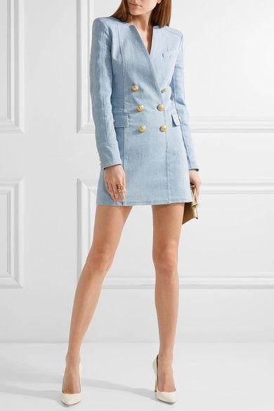 Balmain | Double-breasted denim mini dress | NET-A-PORTER.COM