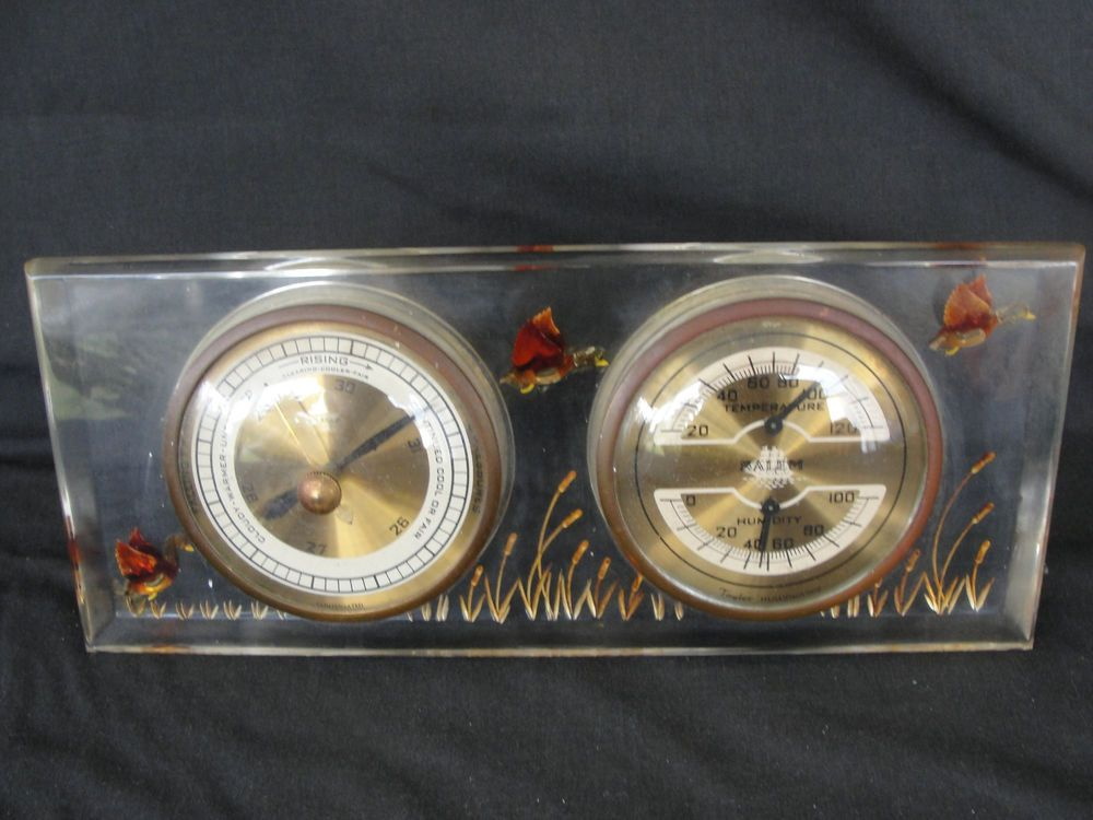 Vintage Salem Clock Co. Lucite w/ Ducks Weather Station Barometer