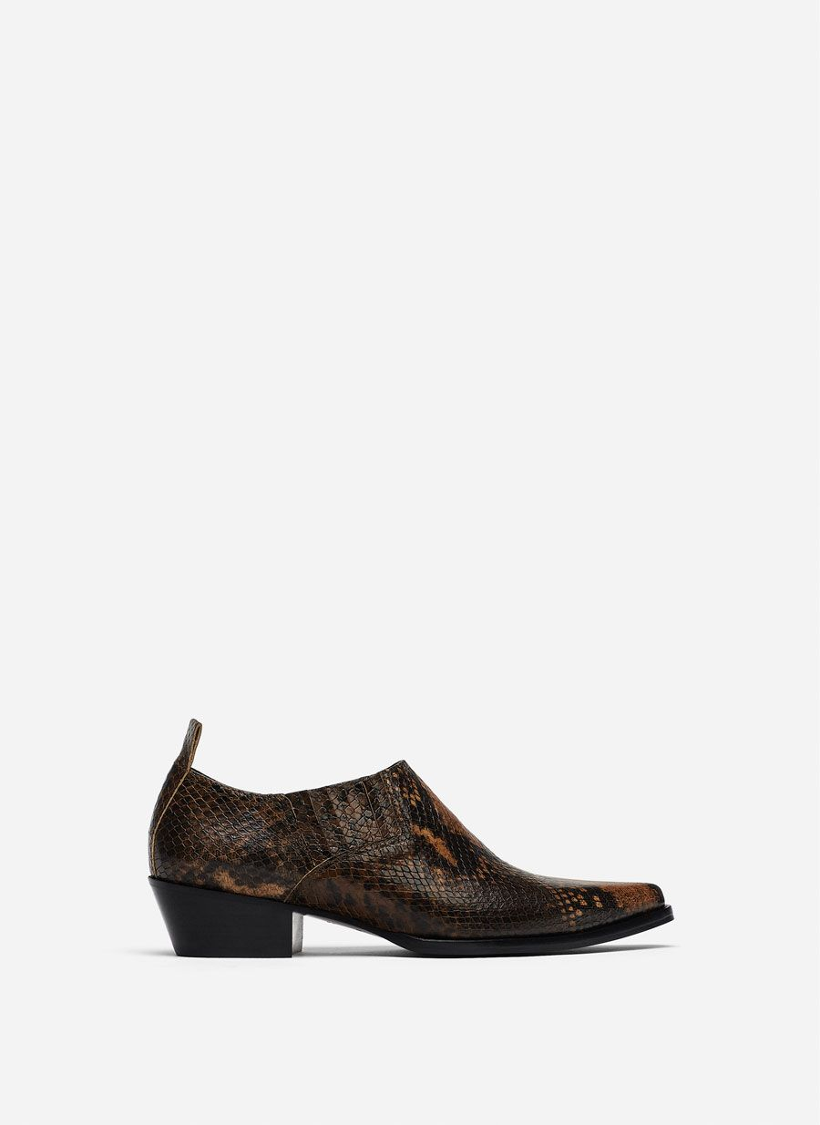 Zapato Abotinado Cow Print Serpiente Calzado última Semana Uterqüe España Zapatos Calzas Botines
