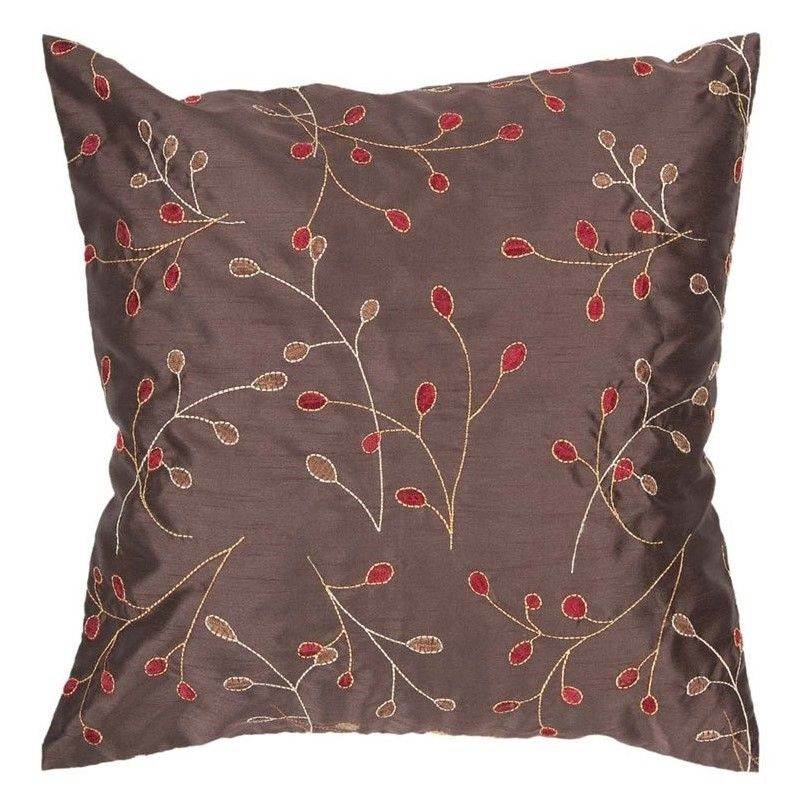 Surya Blossom Poly Fill 40 Square Pillow In Brown And Red Pillows Gorgeous 22 Square Pillow Covers