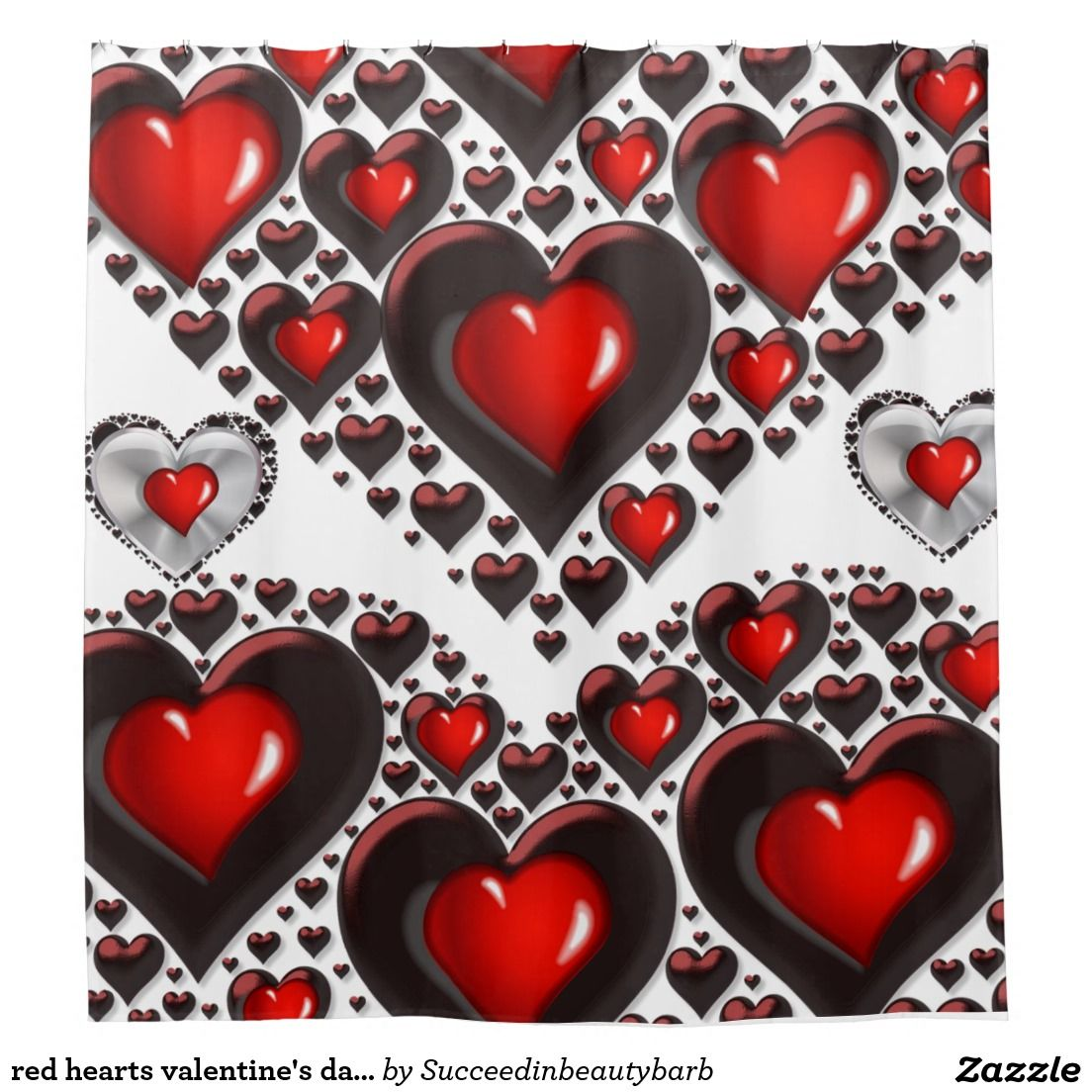 Red Hearts Valentines Day Shower Curtain