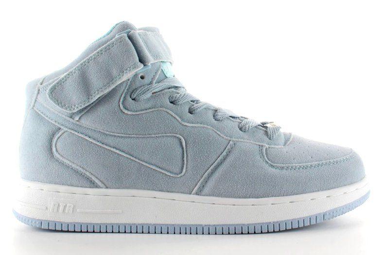 Zamszowe Buty Sportowe Za Kostke B777 Blue Niebieskie Wedge Sneaker Top Sneakers High Top Sneakers