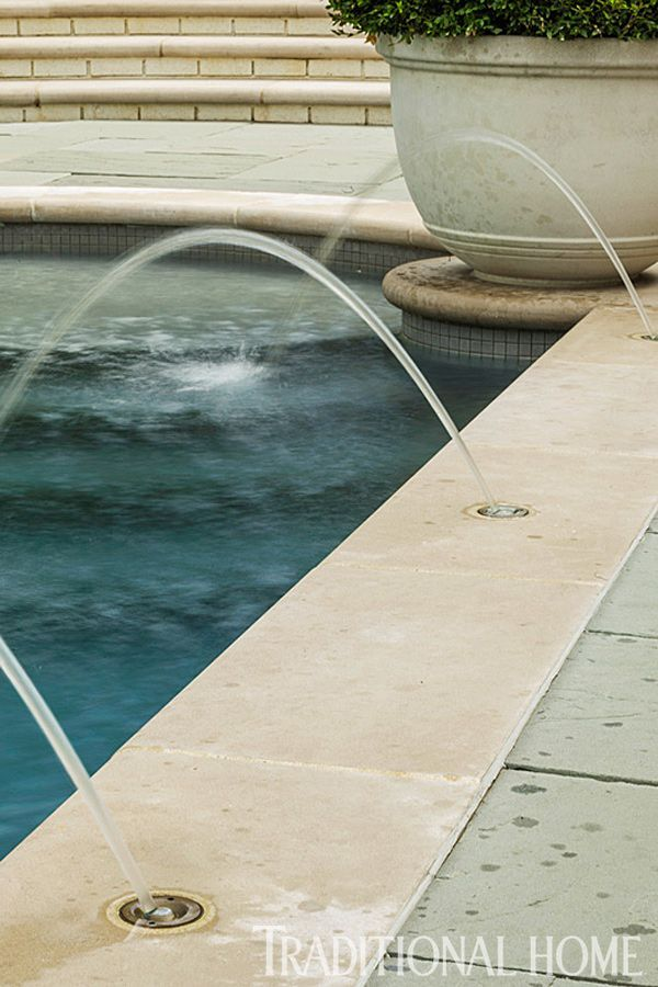 swimming pool water feature with stacked stone columns and fire pots wwwlonestarazcom peaceful water features pinterest swimming pool water