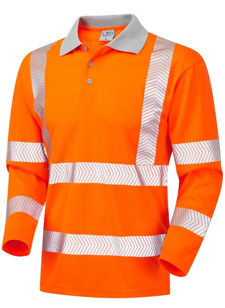 Chevron long sleeve polo shirt 2xl6xl orange long