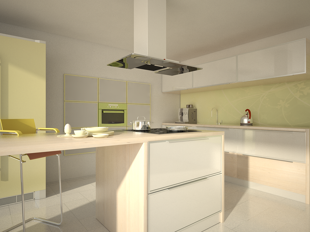 Glass cabinets set in a largely bamboo dominated kitchen - Aluminum Frame Glass Kitchen Cabinet Doors