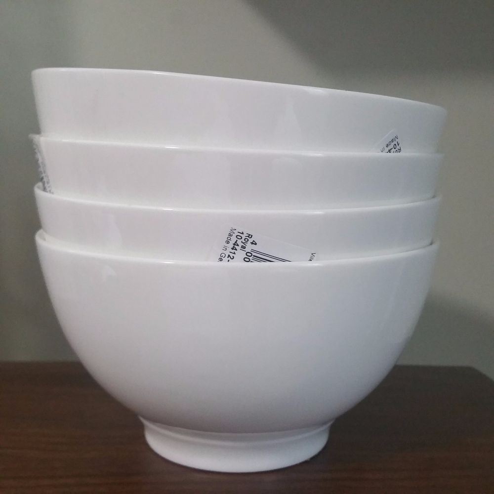 Set of 4 Villeroy & Boch Royal White Cereal or Rice Footed Bowls New ...