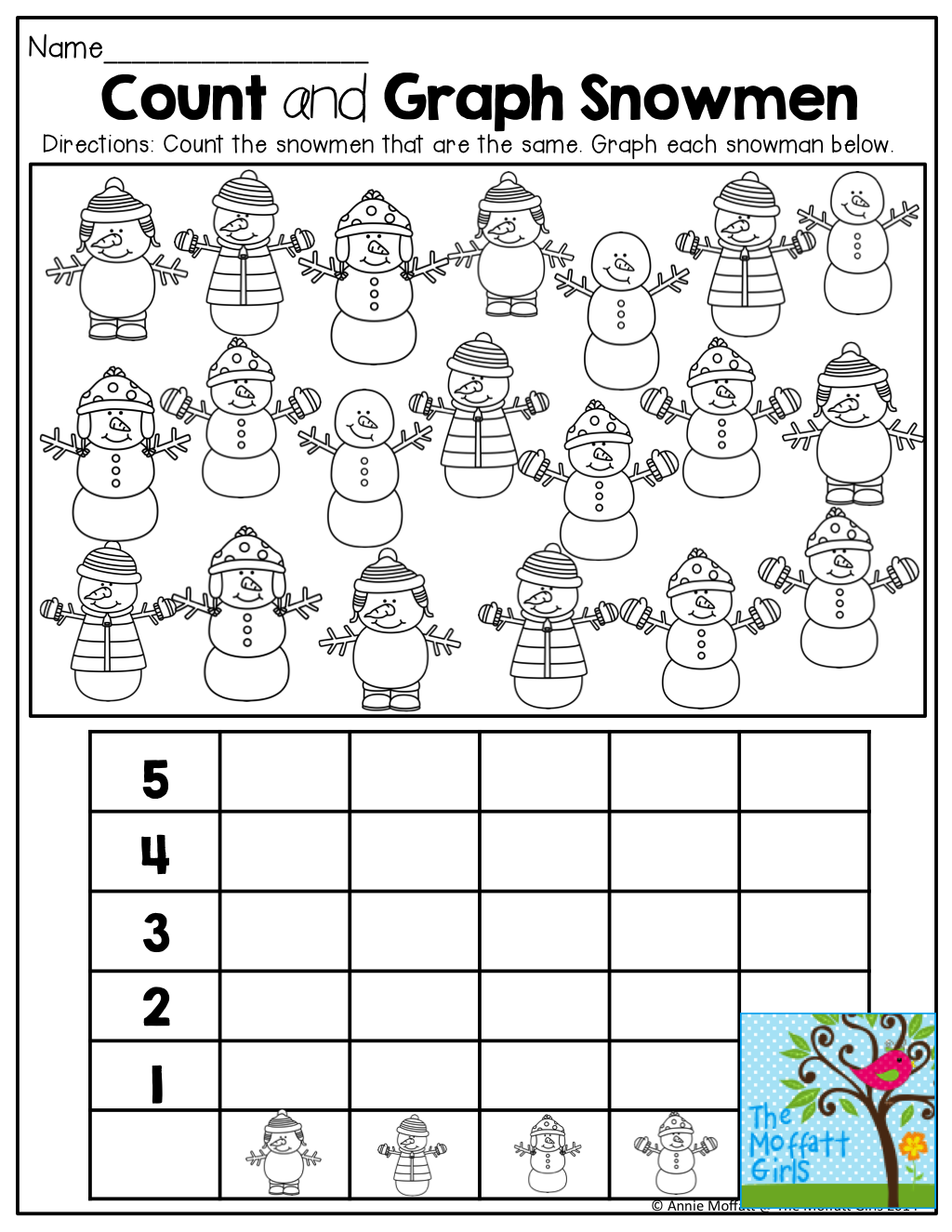 worksheet Christmas Graphing Worksheets december no prep packet kindergarten snowman count and math graph snowmen tons of great printables