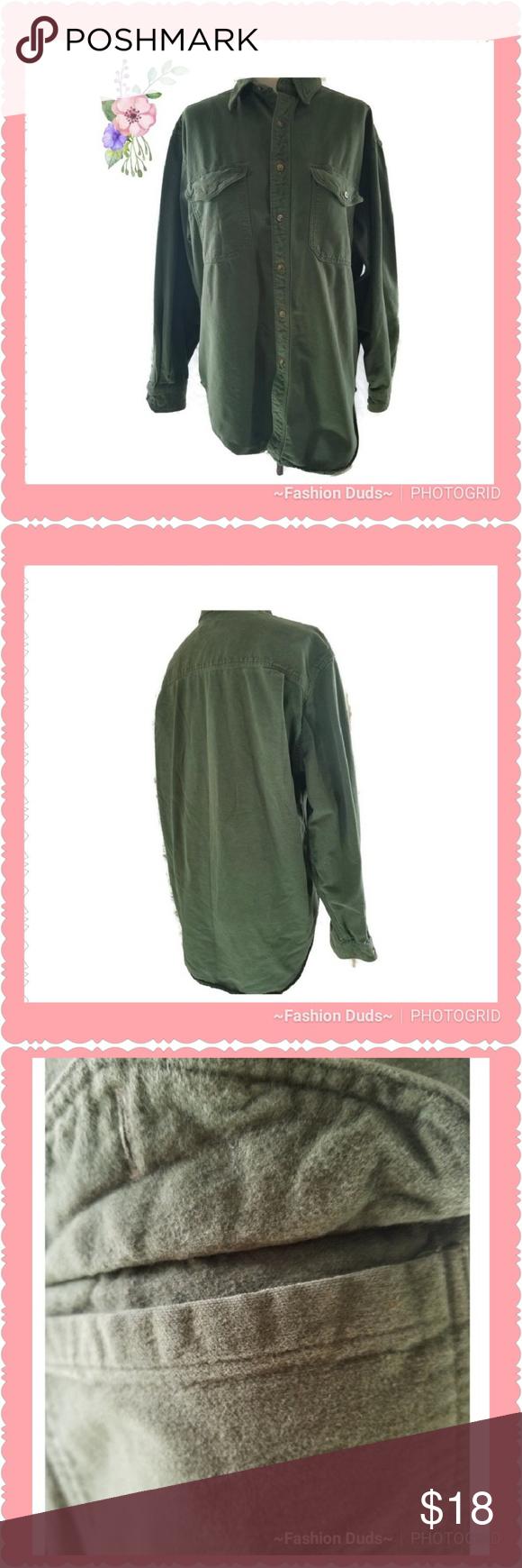 Mens hooded flannel jacket   Landsu End Flannel SHirt mens Army Green Large  My Posh Picks