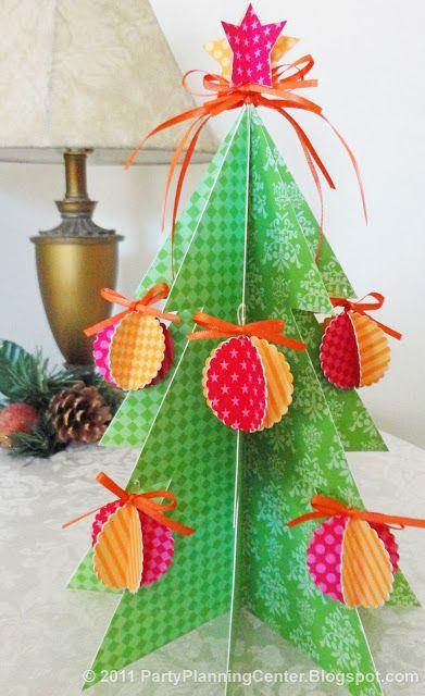 Free Printable Paper Albero di Natale e Ornamenti