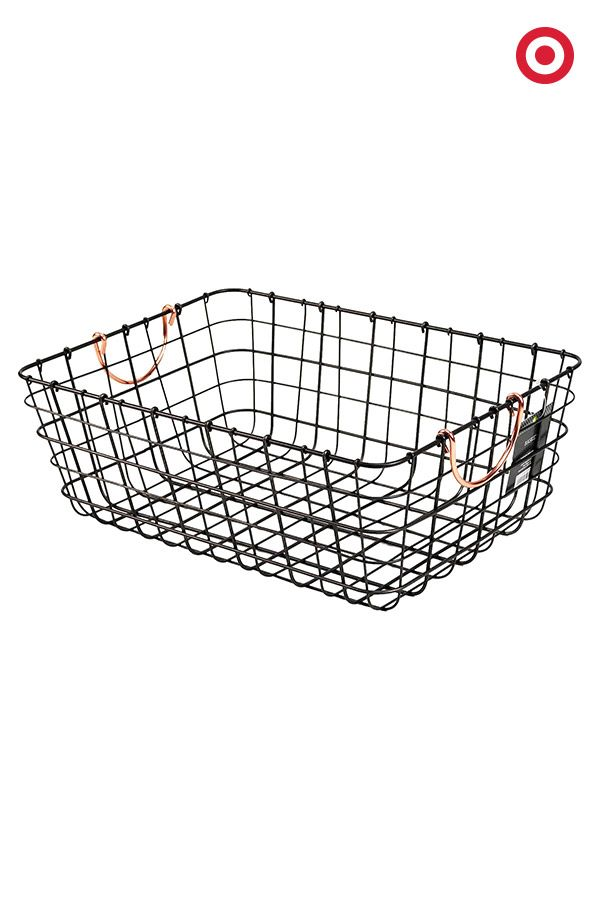 Mudroom Storage Baskets : Antique pewter decorative wire basket black threshold