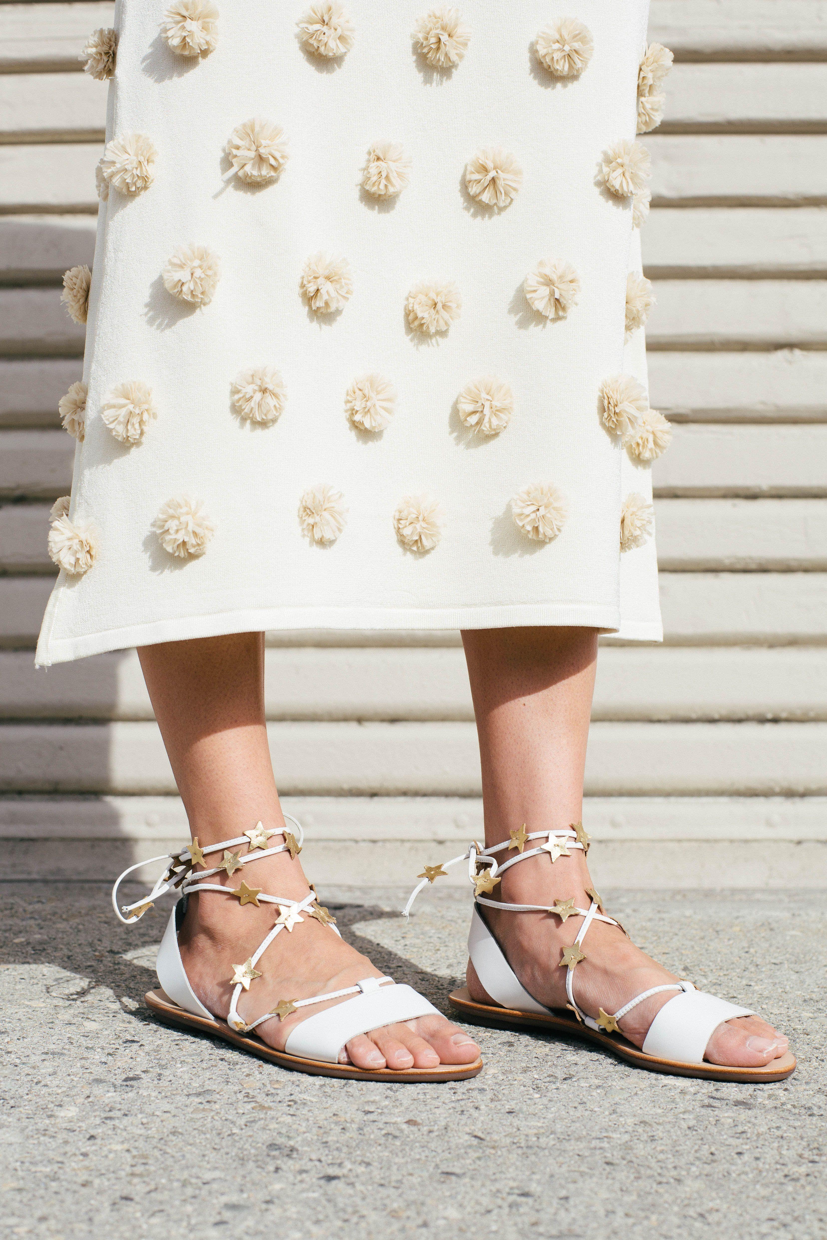 fd6a14fc0e3c Pom Poms   Stars ❤ LR x Kate Brien featuring the Starla Ankle Wrap Sandal