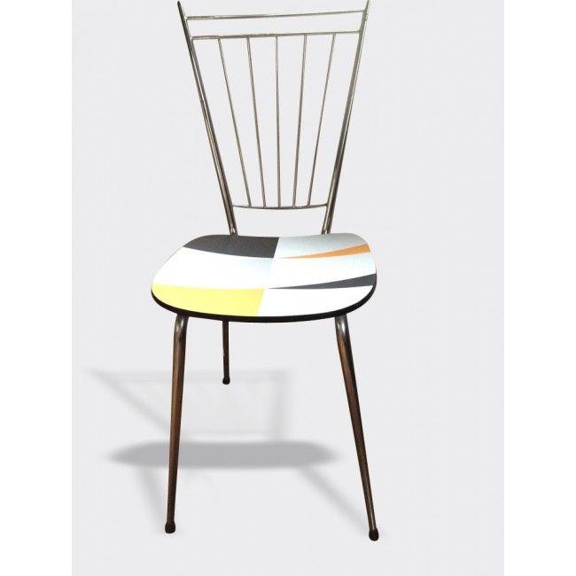 Chaise formica relookée graphique - formica - multicolore - bon état
