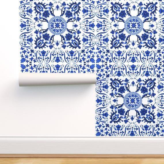 Tile Wallpaper Folk Tiles Blue And White By Etsy In 2021 Tile Wallpaper Tile Art Peel And Stick Wallpaper