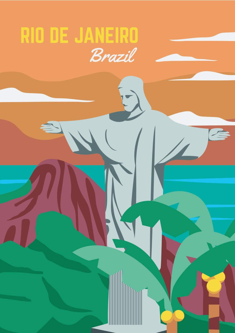 41 41 Reviewsbrazil Travel Poster Rio De Janeiro Print Retro Brazil Print Brazil Wall Art Brazil Wall Brazil Art Travel Posters Vintage Travel Posters