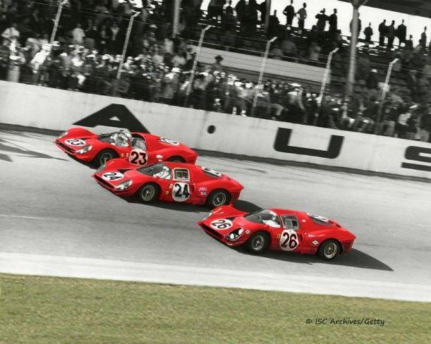 The Winning Ferrari Team Crosses The Finish Line At Daytona In