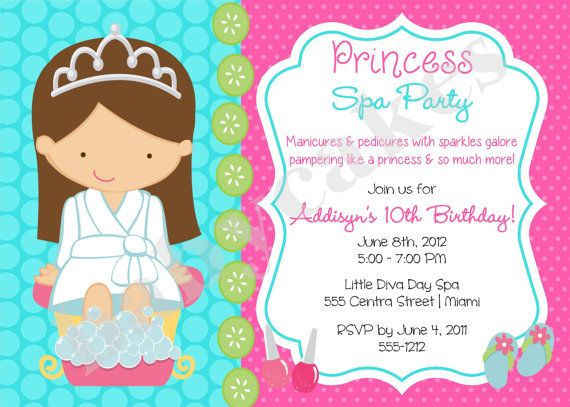 Princess Spa Party Invitation Princess Spa day Princess Spa Party – Invite a Princess to Your Party