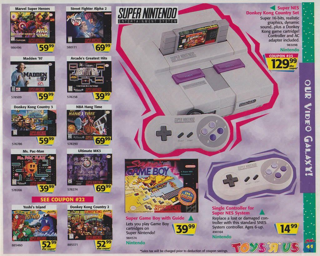 1996 Toys R Us Ads Super Nintendo Classic Video Games Games
