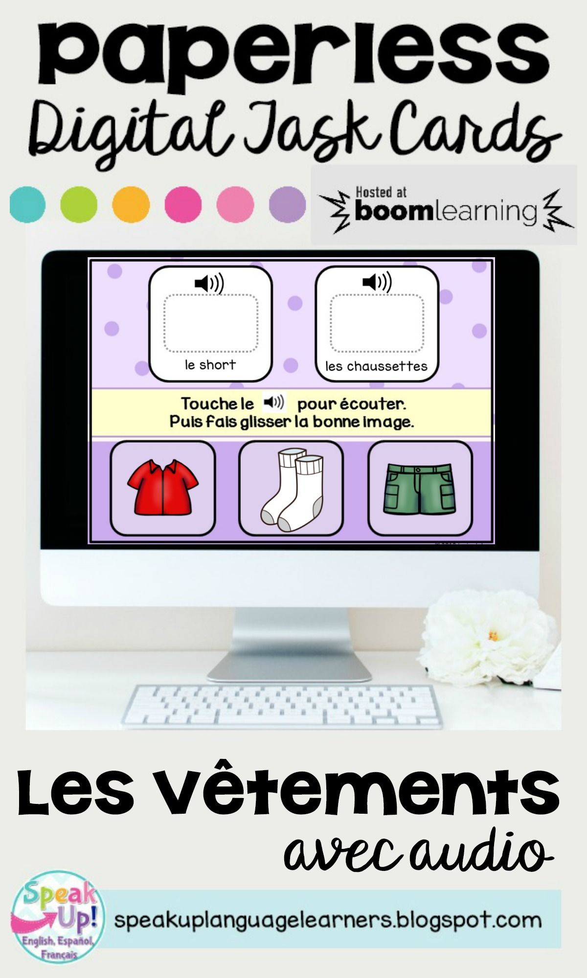 Les Vetements French Clothing Vocabulary Boom Cards W