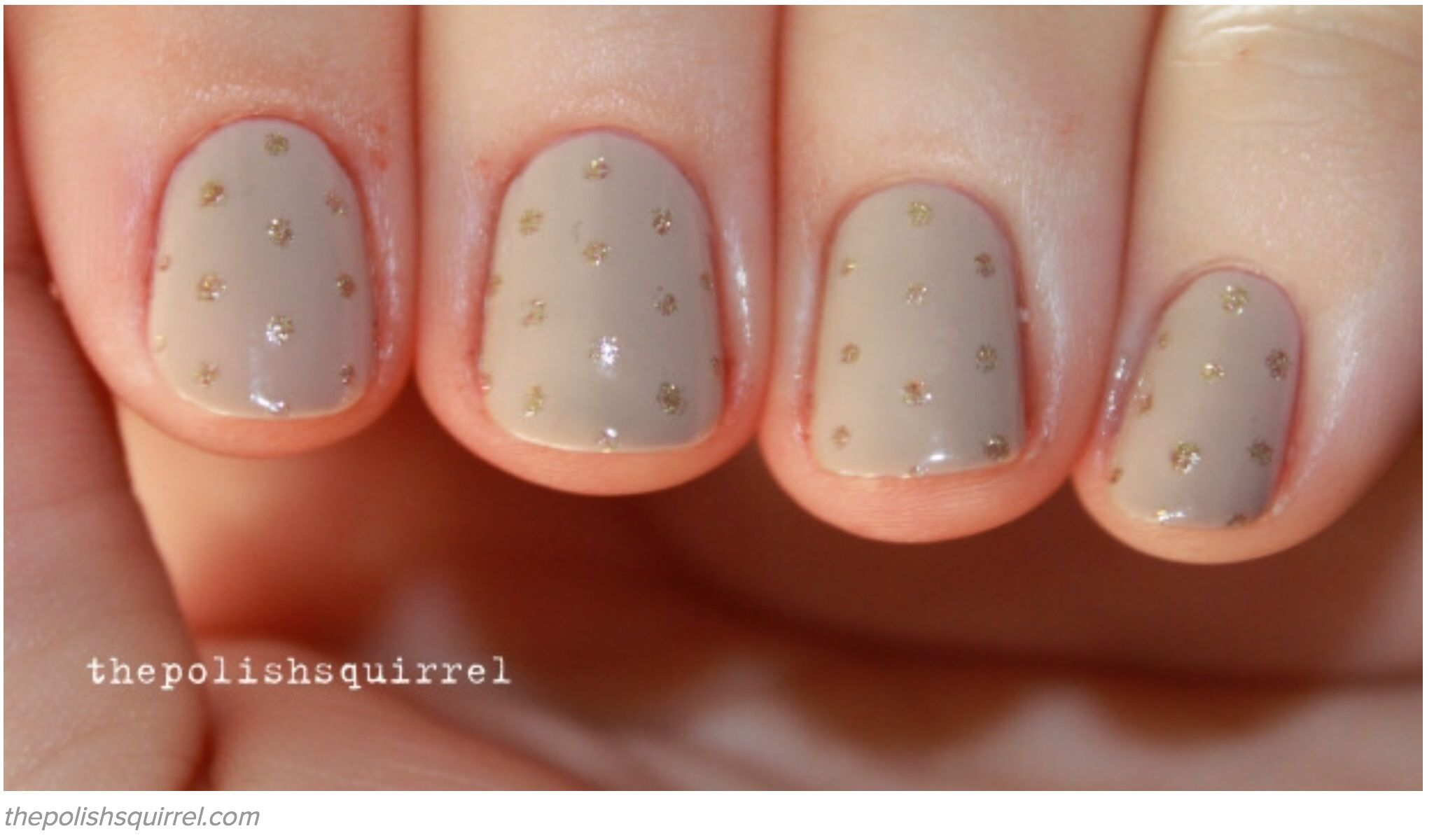 Beige with gold dots belleza de uñas pinterest gold dots