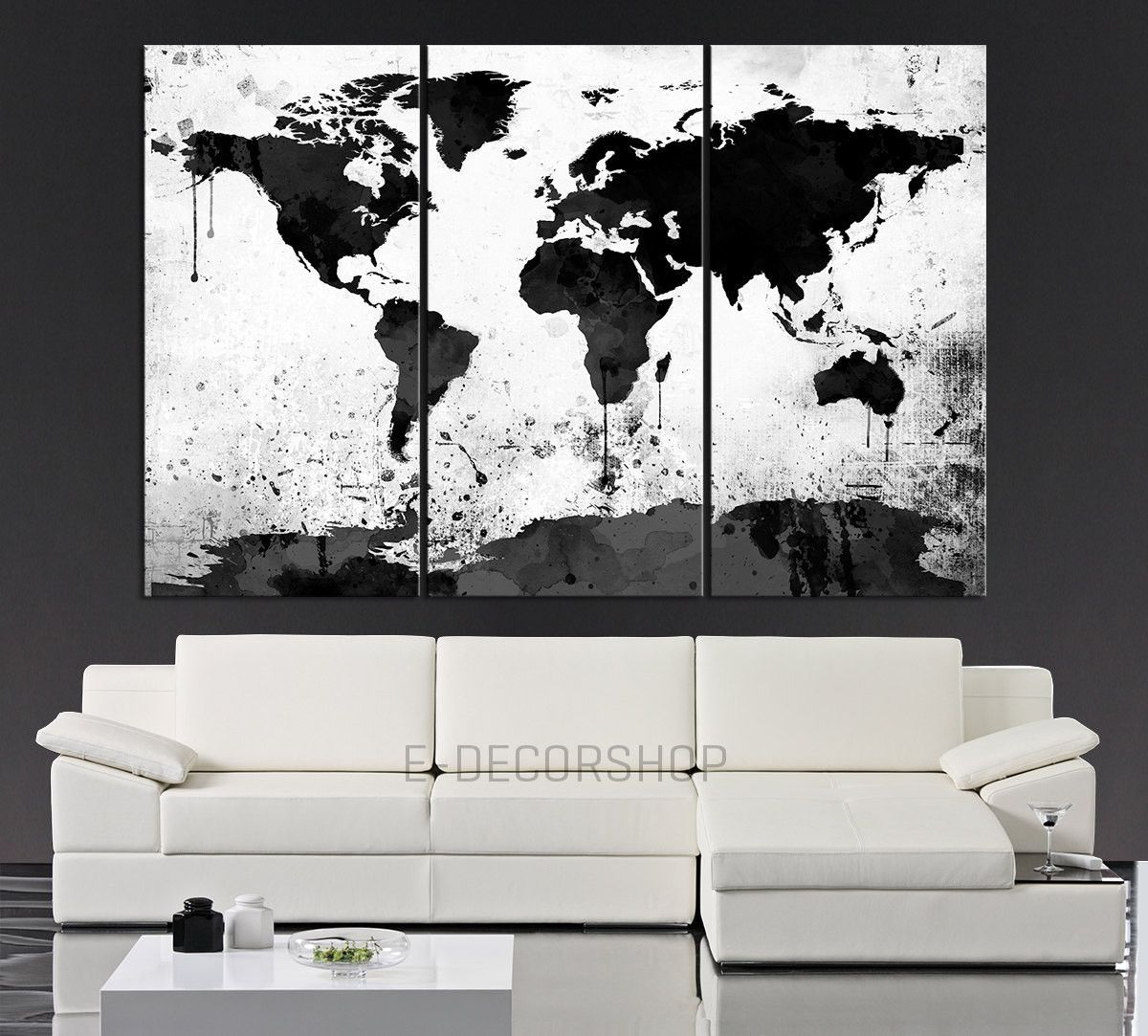 Large Black White World Map Canvas Print 3 Piece