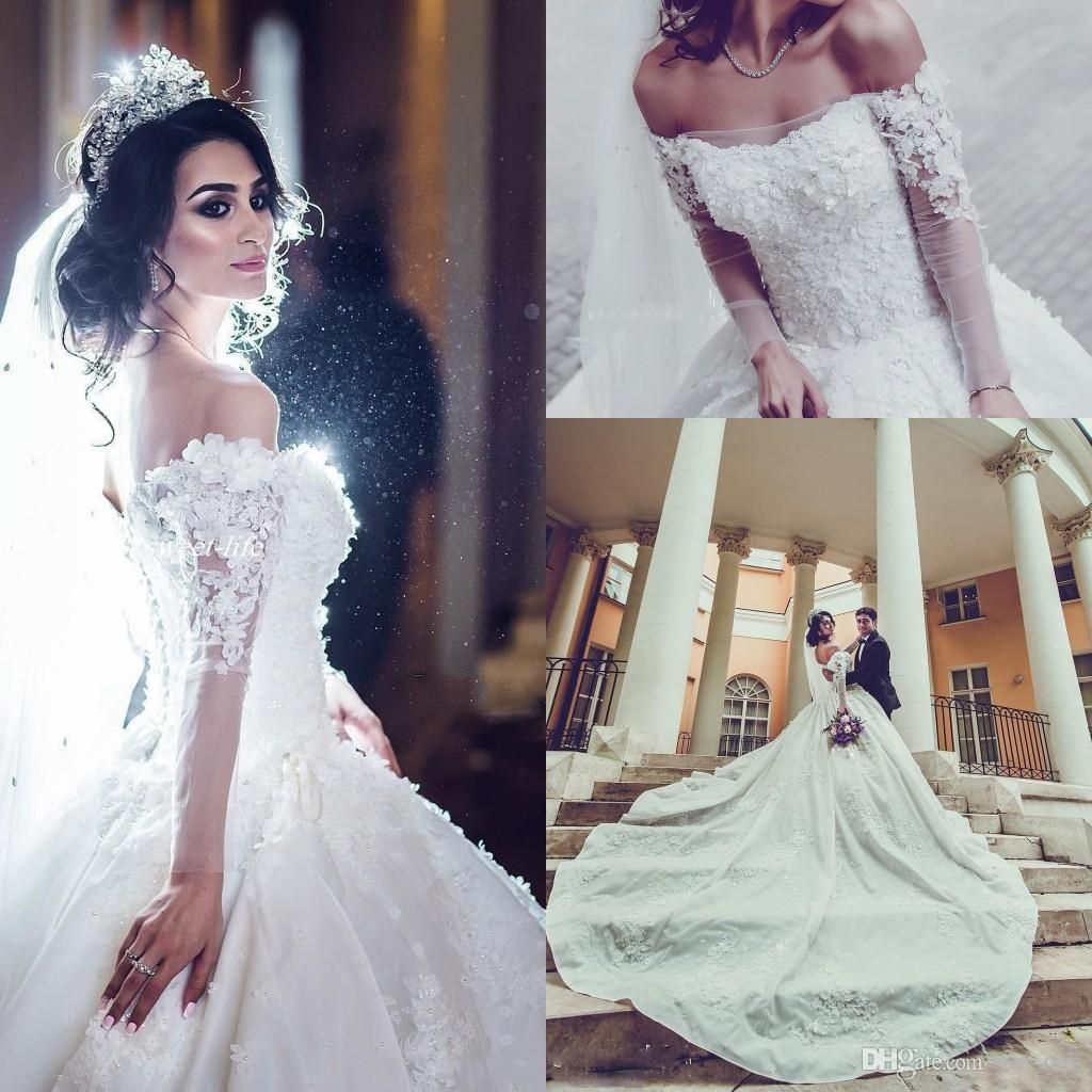 43d64397c47 2017 Luxury Ball Gown Wedding Dresses Off Shoulder Sheer Long Sleeves Lace  Appliques Flowers Beaded Cathedral