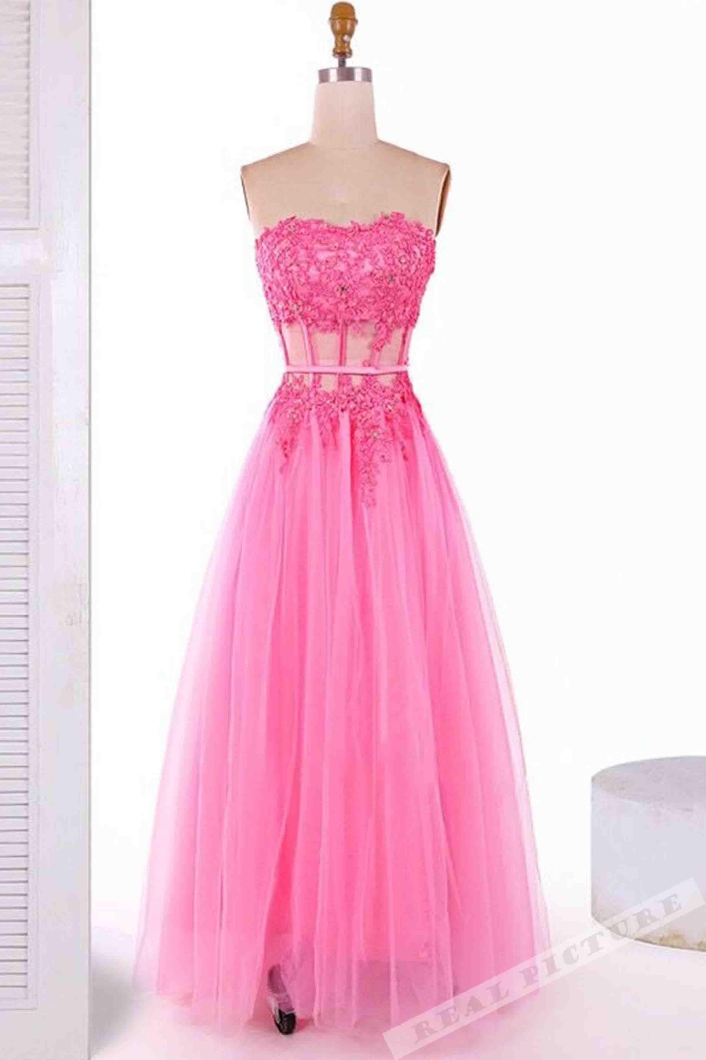 Pink tulle sweetheart lace applique princess long dresscute dress