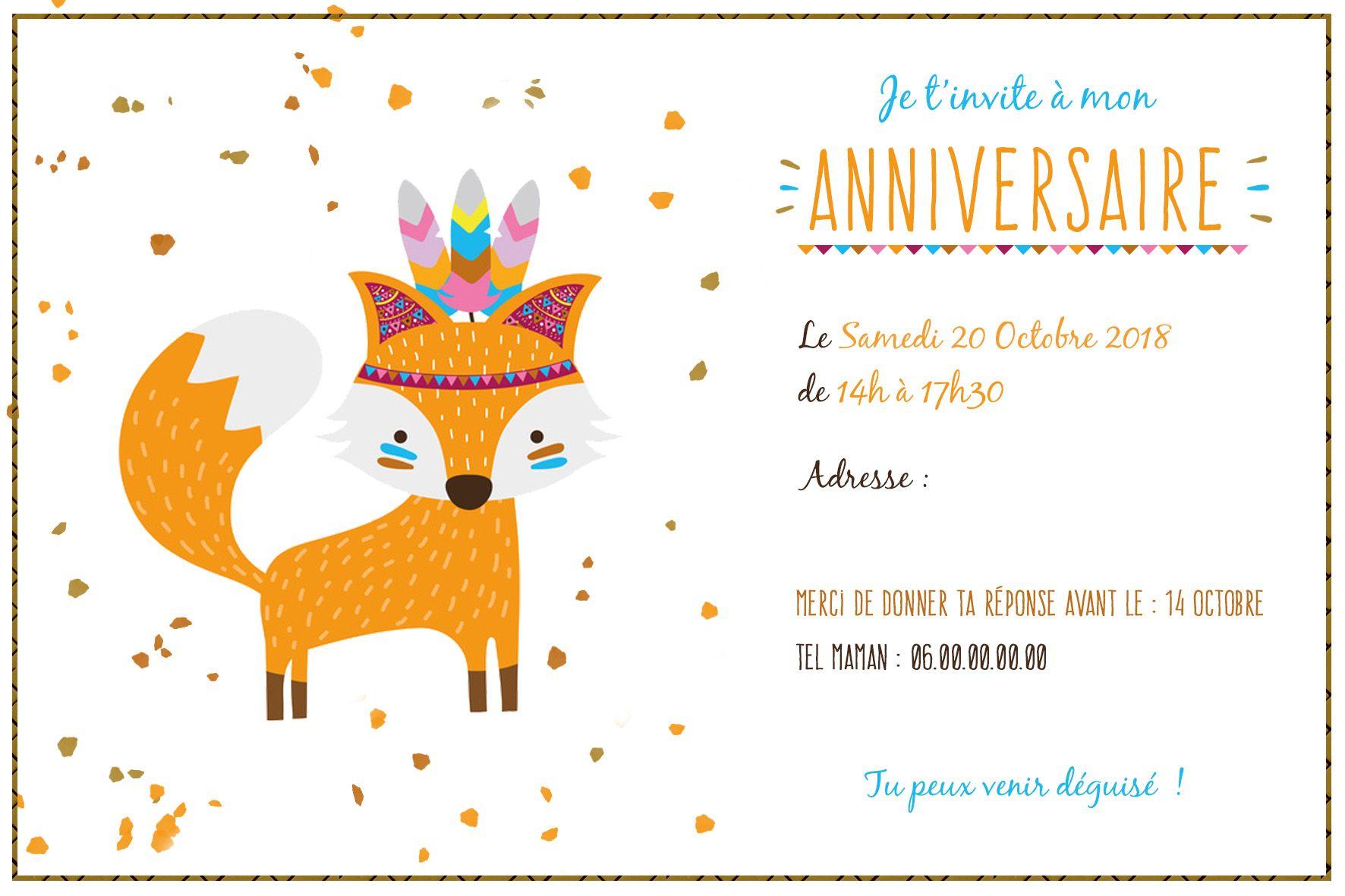 Personalized printable birthday invitation. Theme: Little Fox | Cartes invitation anniversaire ...