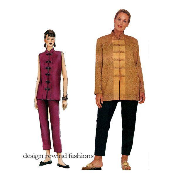 VOGUE TOP & PANTS Pattern Asian Style Mandarin Collar Top Sandra ...