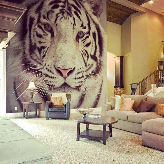 2 Fancy White Tiger Wall Mural Relaxing Living Room Cozy