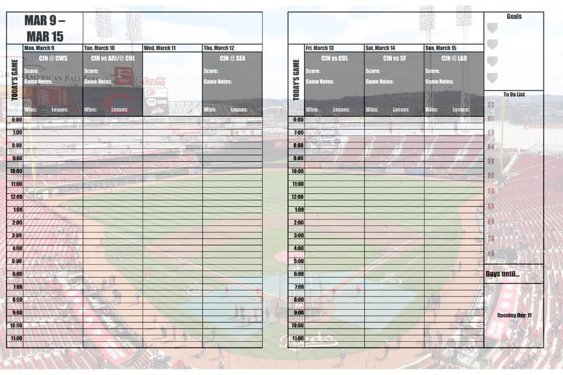 Cincinnati Reds 2020 Daily Planner Baseball Fan Calendar Printable 8 5 X 11 Instant Download In 2020 Daily Planner Cincinnati Reds Philadelphia Phillies