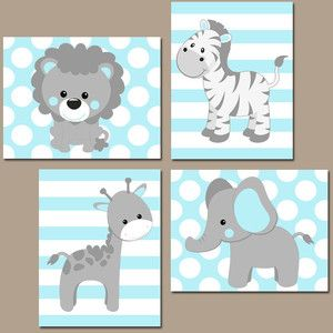 Baby Boy Nursery Wall Art Blue Gray Nursery Artwork Elephant Giraffe Zebra Lion Safari Animals De