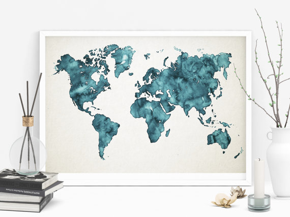 Teal world map printable watercolor map art teal art mapamundi teal world map printable watercolor map art teal art gumiabroncs Choice Image