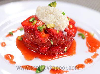 Strawberry shahi tukda indian cuisine pinterest sanjeev kapoor strawberry shahi tukda forumfinder Choice Image
