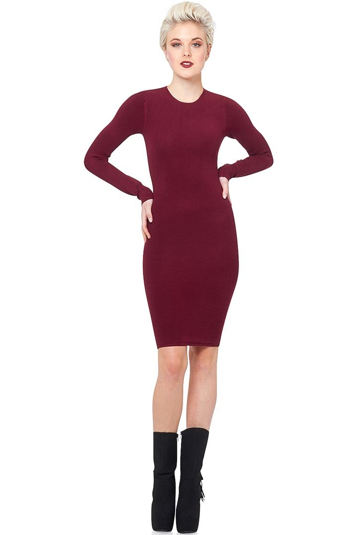 Olivaceous Ribbed Bodycon Dress - Wine