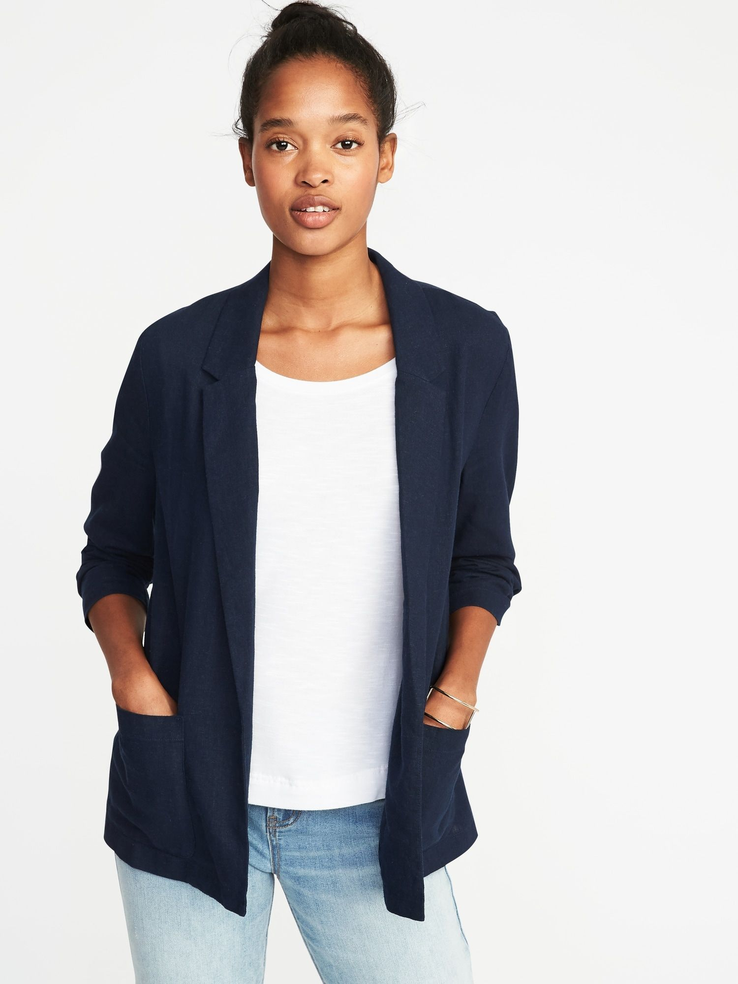 5f00e22121a Linen-Blend Blazer for Women | Old Navy | Casual | Slacks outfit ...