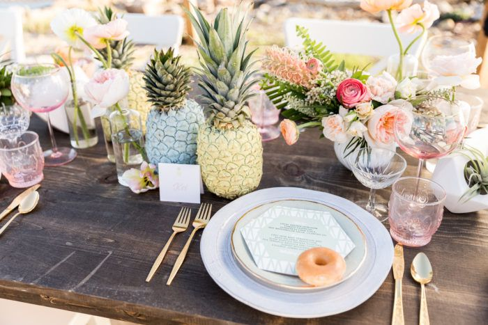 Cavin Elizabeth Tropical Estate Wedding Tabletop Setting Side Pastel Pineapple Wedding Decor Couture Events