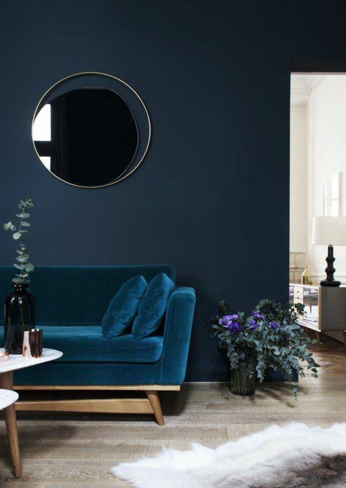 0 couleur de peinture bleu fonce fauteuil bleu sol en parquet quel - peinture murale interieur maison