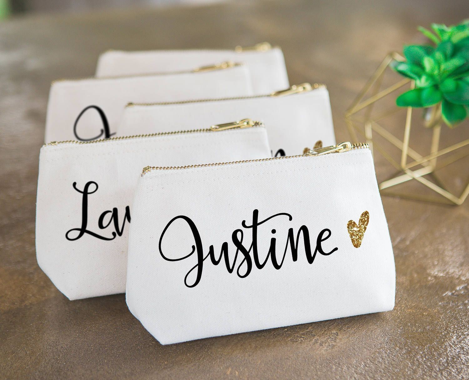 Personalized Makeup Bag Gift for Bridesmaids Canvas Pouch